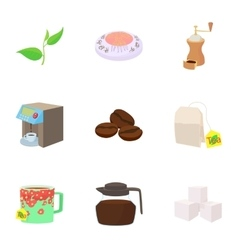 Coffee icons set cartoon style vector