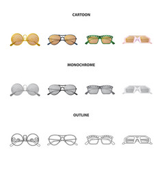 Design of glasses and sunglasses sign set vector