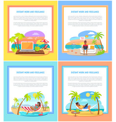 distant work and freelance promotional banners set vector image