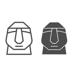 Easter island stone moai line and solid icon vector