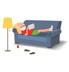 Elderly man lying on the couch with a tablet vector