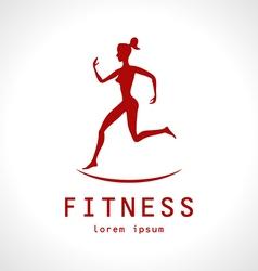 Fitness girl label - vector