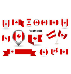 flag canada big set icons and symbols vector image