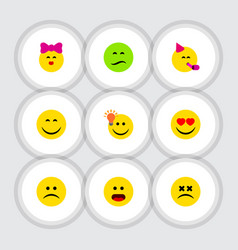 Flat icon expression set of frown smile party vector