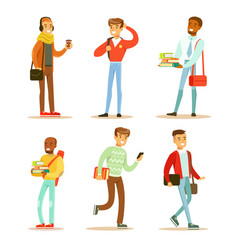 flat set of young cheerful guys university vector image