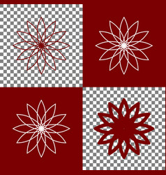 Flower sign bordo and white icons and vector