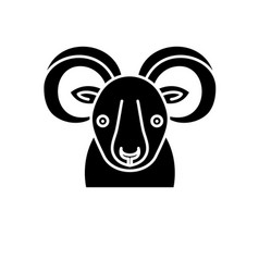 Funny ibex black icon sign on isolated vector