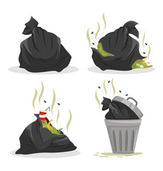 Garbage bags with waste set full litter vector