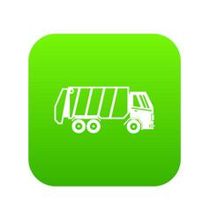 garbage truck icon digital green vector image