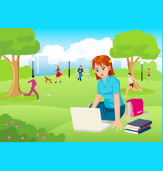 Girl working with lap top in the city park vector