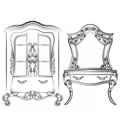 Glass case and dressing table set vector