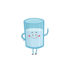 glass of milk cartoon character stands smiling and vector image