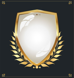 Golden shield and laurel wreath retro design 149 vector