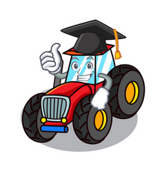 Graduation tractor character cartoon style vector