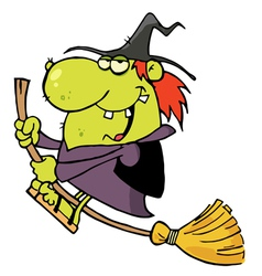 Green Witch Swooping By On Her Broom vector