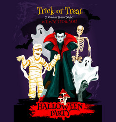 Halloween trick or treat poster of horror monster vector