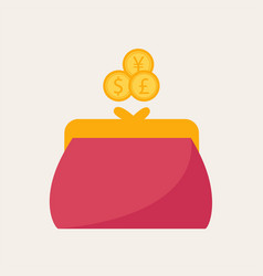 Hand putting some coins on a purse vector