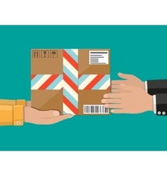 Hands with postal cardboard box delivery concept vector