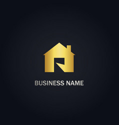 Home r initial gold logo vector