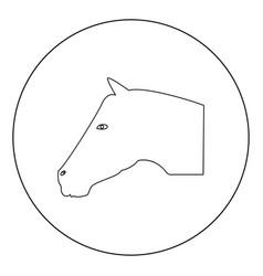 horse head icon black color in circle vector image