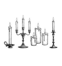 Ink sketch candles vector