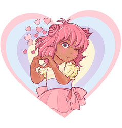 Kawaii girl showing heart shape gesture vector
