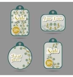 Labels Design Blue Flowers vector image
