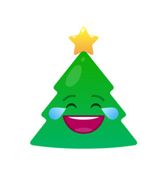 Laughing tears christmas tree isolated emoticon vector