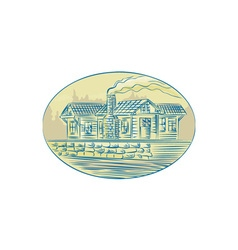 Log Cabin Resort Oval Etching vector