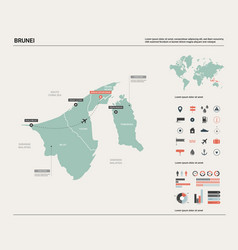 Map brunei high detailed country vector