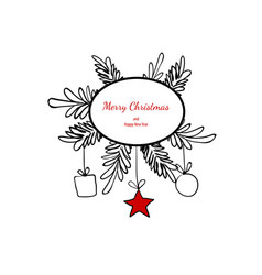 Merry christmas doodle card simple frame gift vector