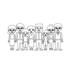 monochrome silhouette with family group with son vector image
