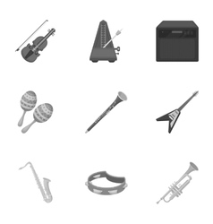Musical instruments set icons in monochrome style vector image