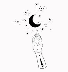 Mystical hand alchemy esoteric magic moon symbol vector