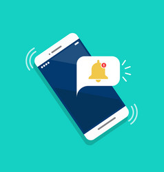 Notification on smartphone flat icon vector