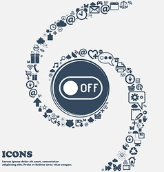 Off icon in the center around the many beautiful vector