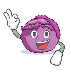 okay red cabbage character cartoon vector image