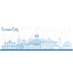 Outline carson city nevada city skyline with blue vector