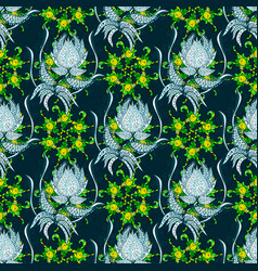 Pattern with spring flowers with branch on vector