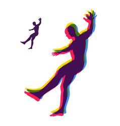 Person slipping and falling silhouette of a man vector