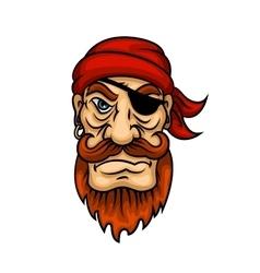 portrait cartoon redhead pirate sailor vector image