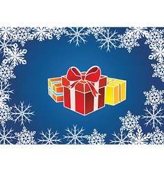 Presents with snowflake border vector image