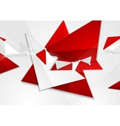 Red grey abstract technology low poly design vector image