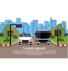 road traffic with car and bus over city buildings vector image