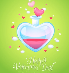 Romantic love potion in a heart shaped glass flask vector image