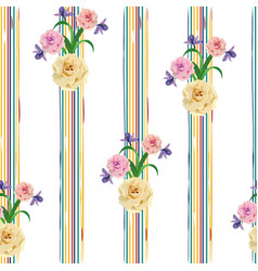 Rose flowers seamless stripe background vector