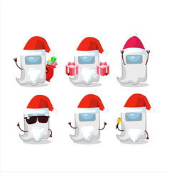 Santa claus emoticons with ghost among us white vector