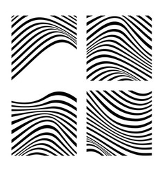 Set 4 abstract backgrounds with wavy lines vector