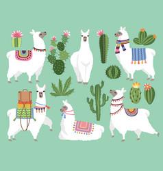 set animals llama and alpaca vector image