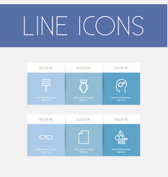 set of 6 editable teach icons line style includes vector image